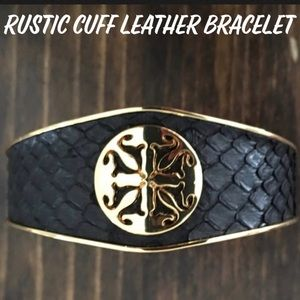 RUSTIC CUFF METAL & VEGAN LEATHER CUFF BLACK